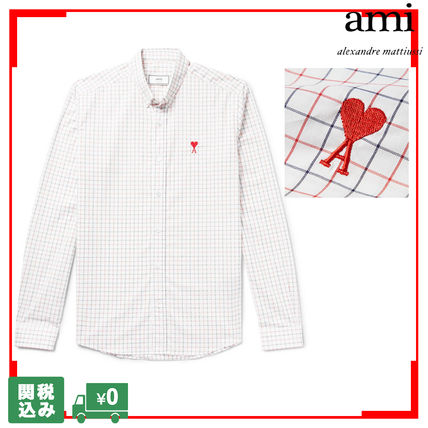 Button-down Other Check Patterns Unisex Street Style