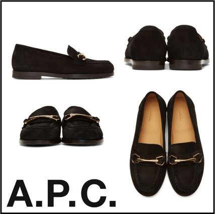 Casual Style Suede Street Style Plain Loafer Pumps & Mules