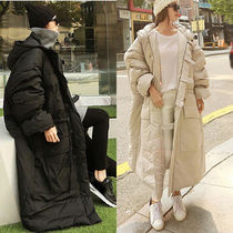 Wool Blended Fabrics Street Style Bi-color Plain Long