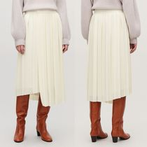 COS Casual Style Pleated Skirts Plain Medium Midi Skirts