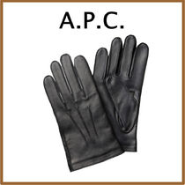 A.P.C. Plain Leather Leather & Faux Leather Gloves