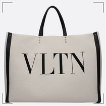 VALENTINO Canvas Studded A4 Totes