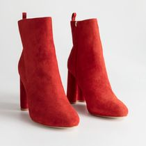 & Other Stories Suede Plain Block Heels Elegant Style Ankle & Booties Boots