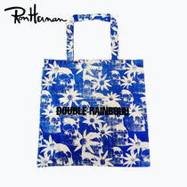 Ron Herman Skull Flower Patterns Casual Style Unisex Handmade Totes