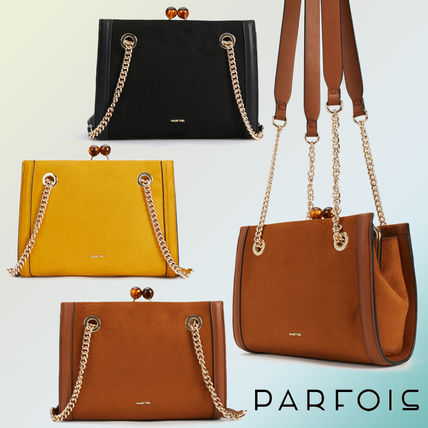 02df313a8b27 ... PARFOIS Shoulder Bags Casual Style Faux Fur Chain Plain Shoulder Bags  ...
