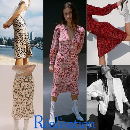 Flared Skirts Flower Patterns Leopard Patterns Casual Style