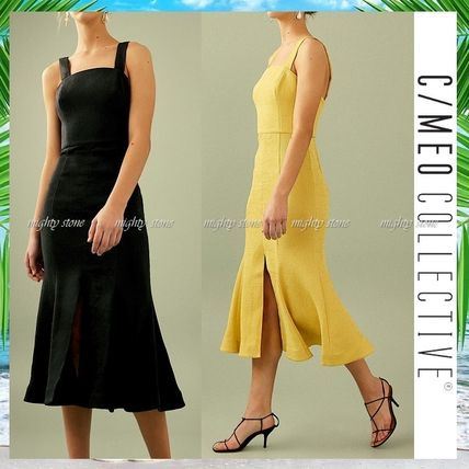 A-line Sleeveless Plain Medium Midi Khaki Dresses