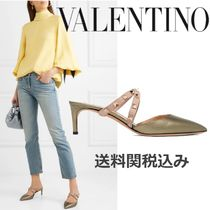 VALENTINO Studded Plain Leather Pin Heels Elegant Style Heeled Sandals