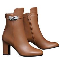 HERMES Kelly Leather High Heel Boots