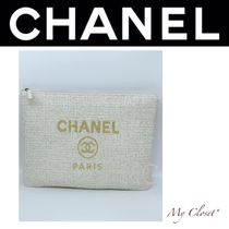 CHANEL DEAUVILLE Casual Style Canvas Street Style A4 Clutches