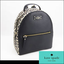 kate spade new york Leopard Patterns Casual Style Leather Backpacks