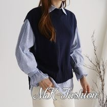 Stripes Casual Style Cotton Medium Puff Sleeves