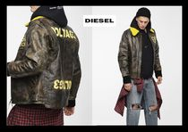 DIESEL Short Blended Fabrics Street Style Plain Leather