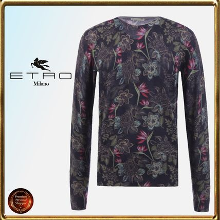 Crew Neck Pullovers Flower Patterns Wool Long Sleeves