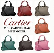 Cartier Blended Fabrics Plain Leather Elegant Style Shoulder Bags