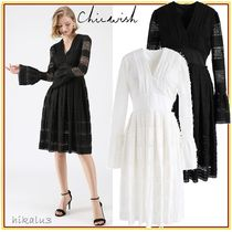 Chicwish V-Neck Medium Party Style Lace Puff Sleeves Dresses