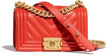 CHANEL BOY CHANEL Calfskin Blended Fabrics Chain Plain Party Style Handbags