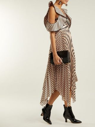 Stripes Flared Long Party Style Dresses