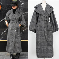 Gingham Other Check Patterns Wool Long Office Style