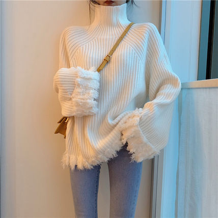 Cable Knit Casual Style Blended Fabrics Plain Cotton Medium