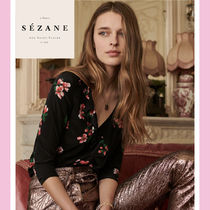 SEZANE Flower Patterns Casual Style Silk Cropped Medium