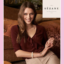 SEZANE Casual Style Silk Cropped Plain Medium Shirts & Blouses