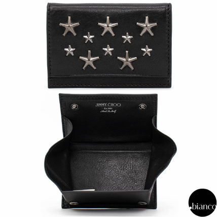 Star Unisex Studded Street Style Leather Coin Cases