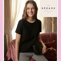 SEZANE Casual Style Plain Medium Short Sleeves Shirts & Blouses