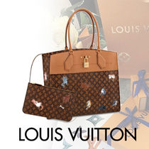 Louis Vuitton CITY STEAMER Blended Fabrics Street Style With Jewels Mothers Bags