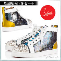 Christian Louboutin Blended Fabrics Studded Street Style Plain Leather Sneakers