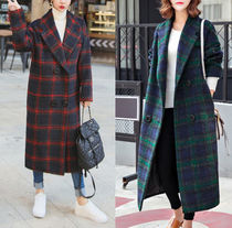 Glen Patterns Casual Style Wool Long Oversized Duffle Coats