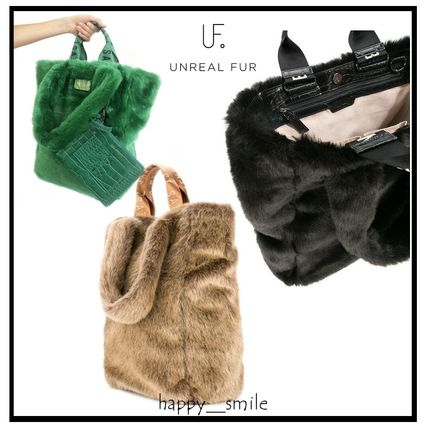 Casual Style Faux Fur Plain Totes