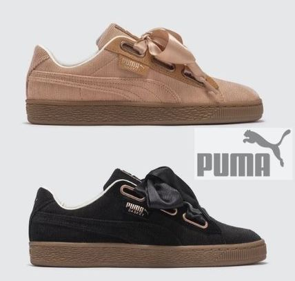 super popular c2122 9610c PUMA BASKET HEART Rubber Sole Lace-up Tweed Low-Top Sneakers