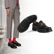 GUCCI Stripes Loafers Leather Loafers & Slip-ons