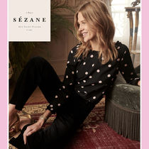 SEZANE Dots Casual Style Cropped Cotton Medium Shirts & Blouses
