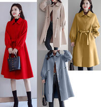 Wool Plain Long Office Style Oversized Bold Wrap Coats