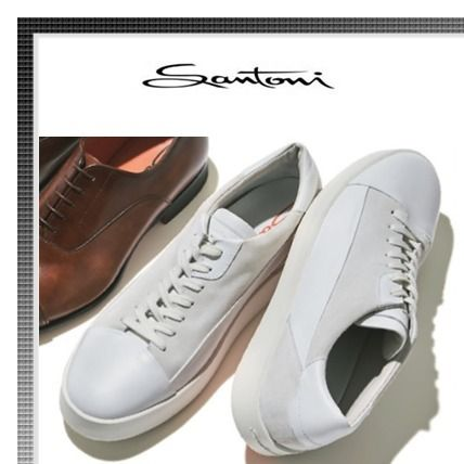 Blended Fabrics Plain Leather Sneakers