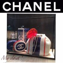 CHANEL ICON Stripes Street Style 2WAY Chain Purses Elegant Style