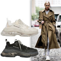 BALENCIAGA Triple S Casual Style Unisex Street Style Leather Low-Top Sneakers