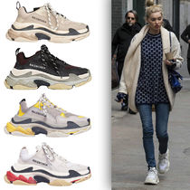 BALENCIAGA Triple S Bi-color Leather Low-Top Sneakers