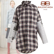 BALENCIAGA Other Check Patterns Long Sleeves Cotton Shirts & Blouses