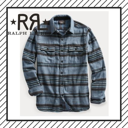 RRL Shirts Stripes Street Style Long Sleeves Cotton Surf Style Shirts
