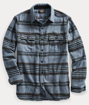 RRL Shirts Stripes Street Style Long Sleeves Cotton Surf Style Shirts 2