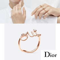 Christian Dior Casual Style Blended Fabrics 18K Gold With Jewels Rings