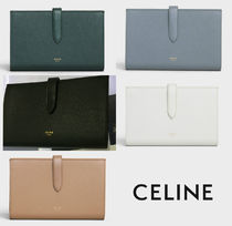 CELINE Strap Plain Leather Folding Wallets