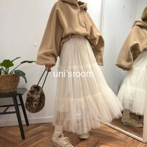 Flared Skirts Chiffon Blended Fabrics Plain Long