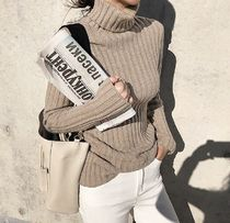 Casual Style Long Sleeves Plain Turtlenecks