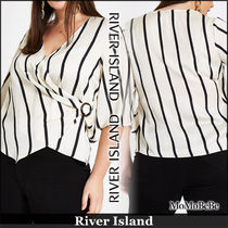 River Island Stripes Casual Style V-Neck Cropped Medium Shirts & Blouses