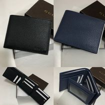 GUCCI Plain Leather Folding Wallets