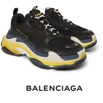 BALENCIAGA Triple S Blended Fabrics Street Style Bi-color Leather Sneakers